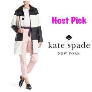 kate spade new york Black Creme colorblock coat S